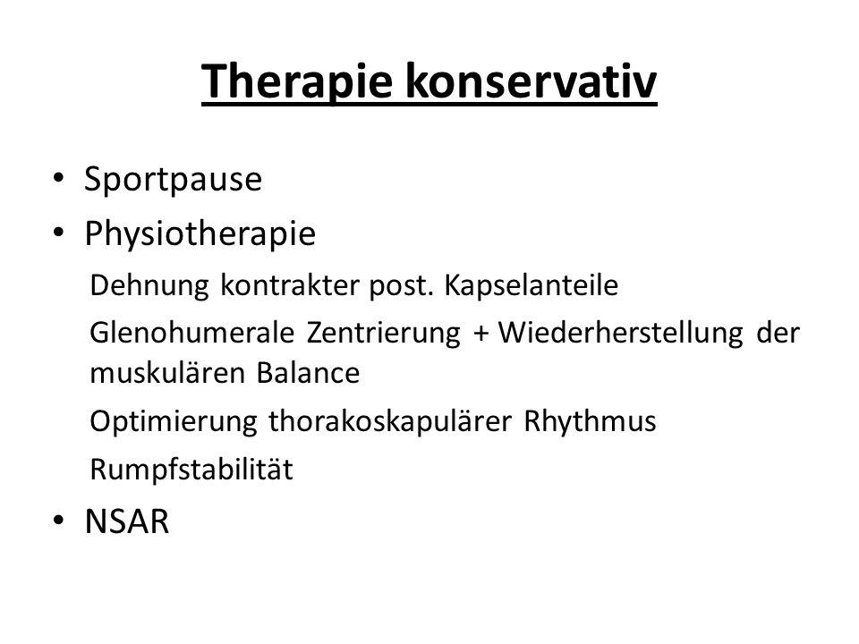 Therapie konservativ Sportpause Physiotherapie NSAR