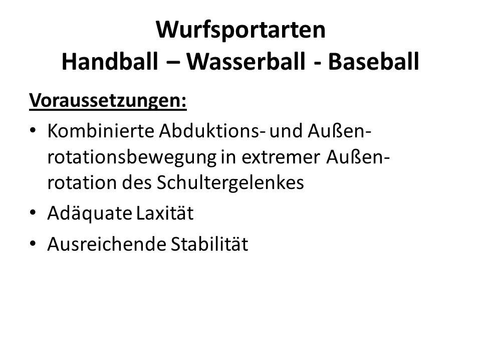 Wurfsportarten Handball – Wasserball - Baseball