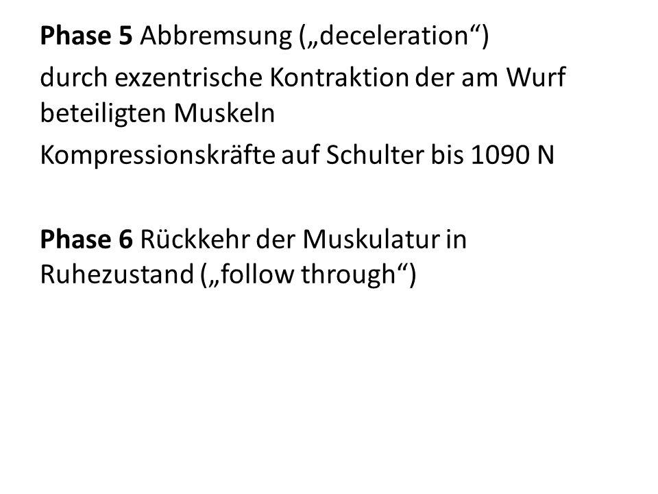 """Phase 5 Abbremsung (""""deceleration ) durch exzentrische Kontraktion der am Wurf beteiligten Muskeln Kompressionskräfte auf Schulter bis 1090 N Phase 6 Rückkehr der Muskulatur in Ruhezustand (""""follow through )"""