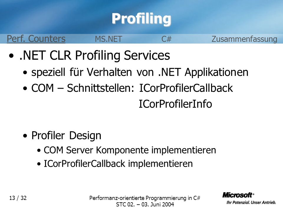 Performanz-orientierte Programmierung in C#