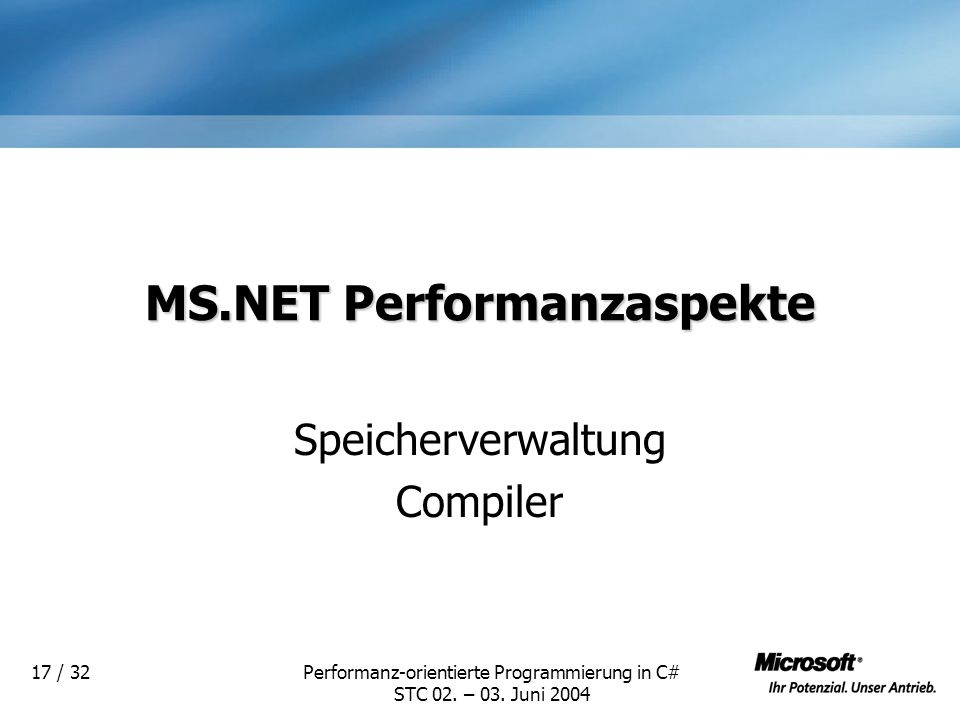 MS.NET Performanzaspekte