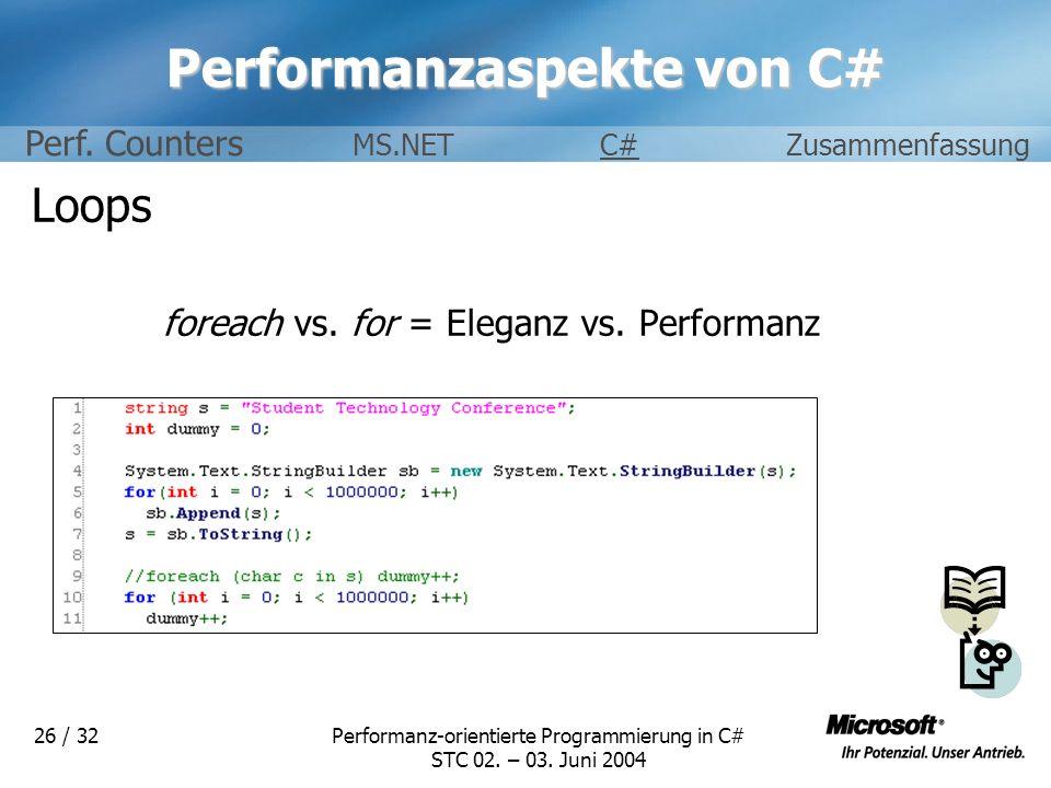 Performanzaspekte von C#
