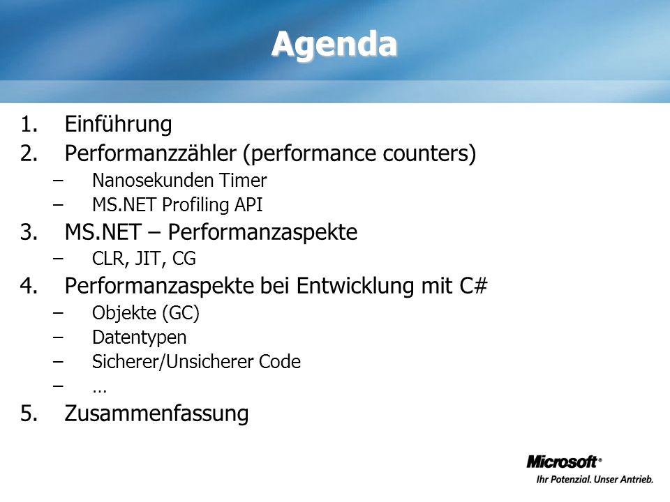 Agenda Einführung Performanzzähler (performance counters)