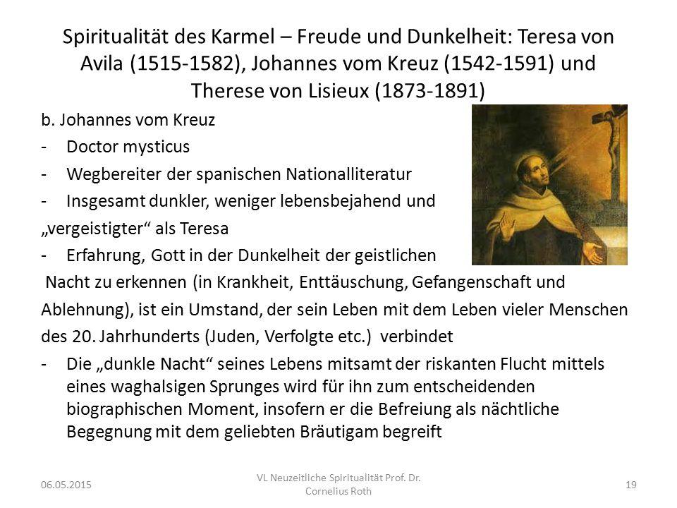 VL Neuzeitliche Spiritualität Prof. Dr. Cornelius Roth