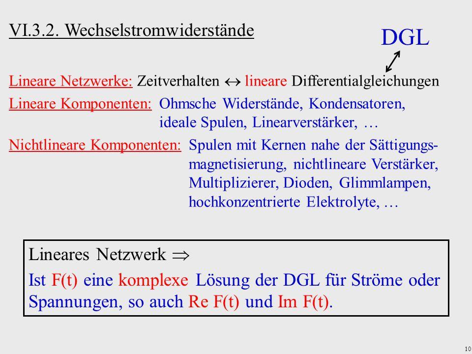 DGL VI.3.2. Wechselstromwiderstände Lineares Netzwerk 