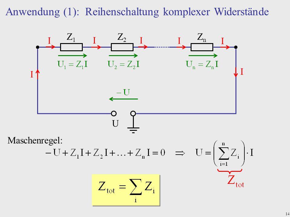 Anwendung (1): Reihenschaltung komplexer Widerstände
