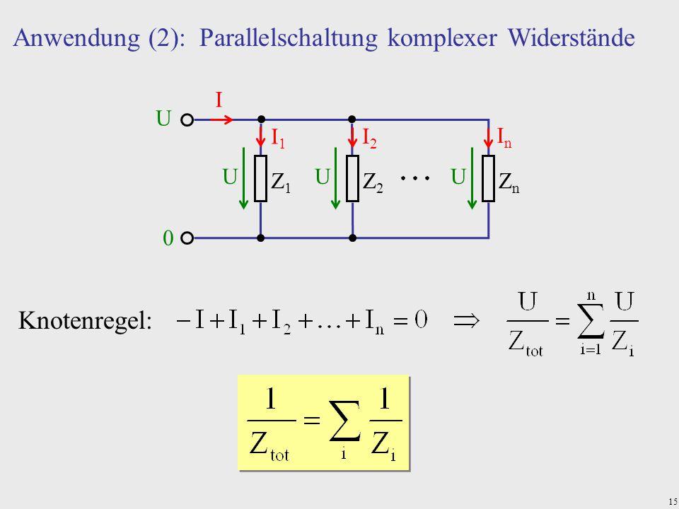 Anwendung (2): Parallelschaltung komplexer Widerstände