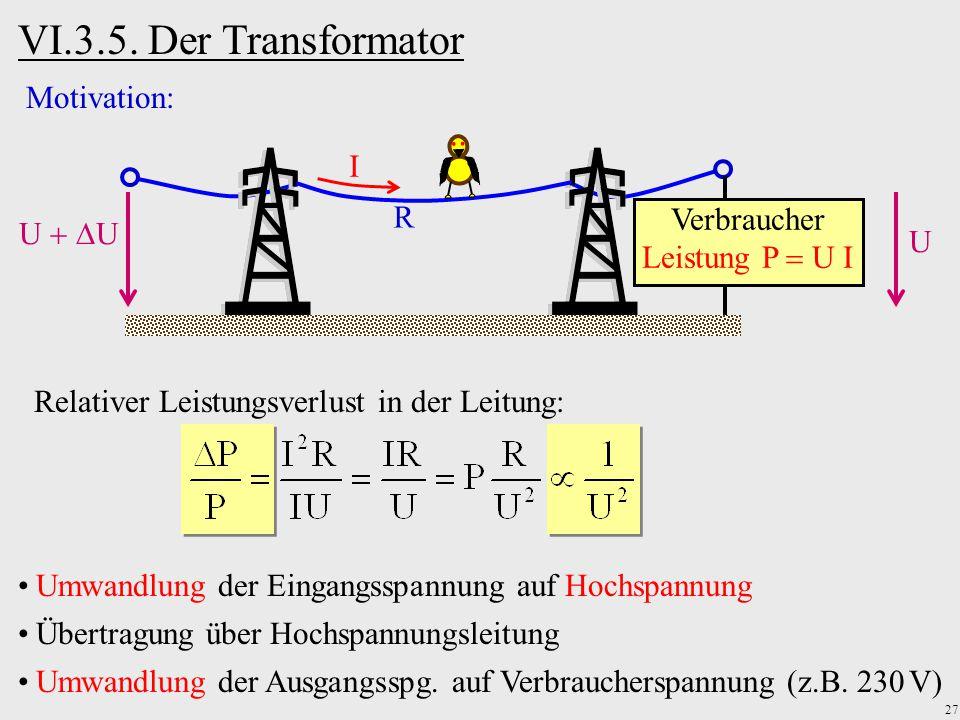 VI.3.5. Der Transformator Motivation: I R Verbraucher U U