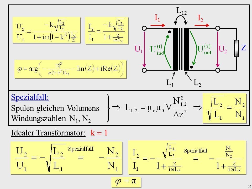 U1 U2. I1. I2. Z. L1. L2. L12. Spezialfall: Spulen gleichen Volumens. Windungszahlen N1, N2.