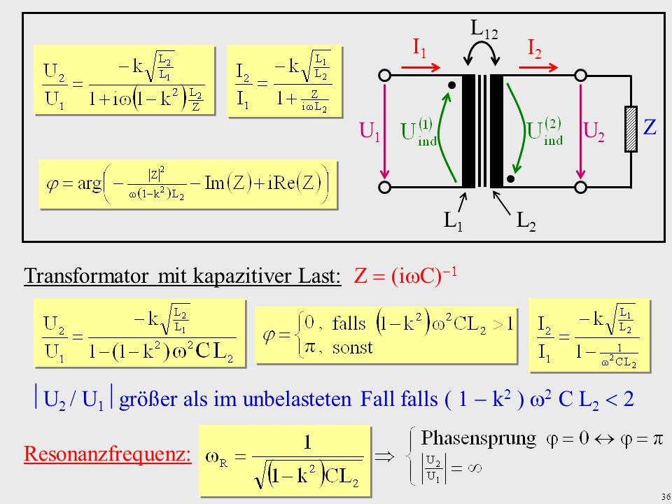 Transformator mit kapazitiver Last: Z(iC)