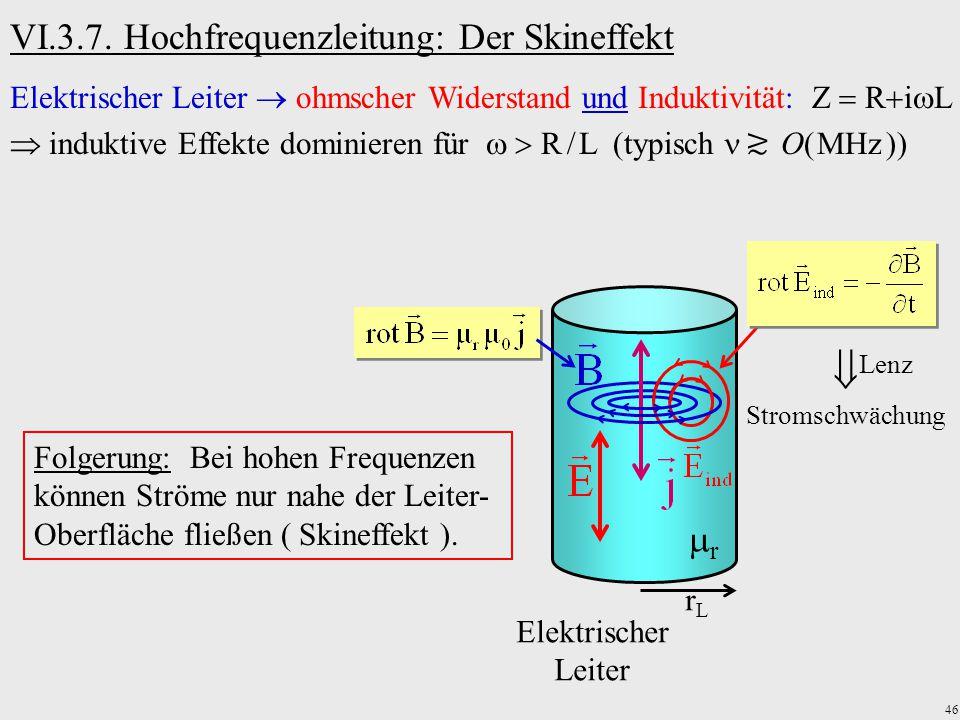  VI.3.7. Hochfrequenzleitung: Der Skineffekt r
