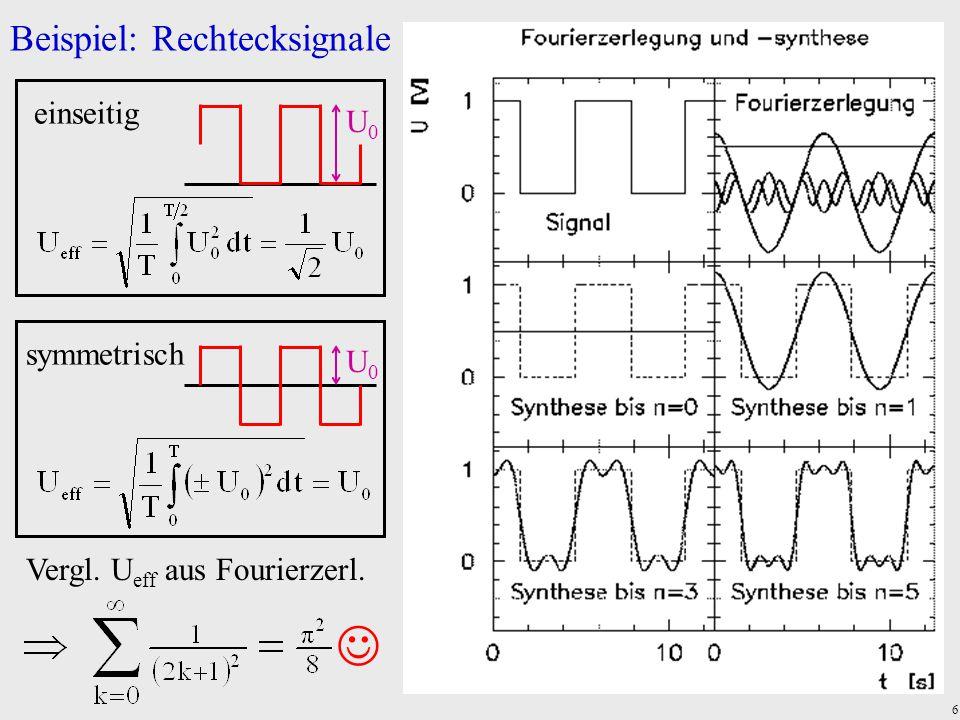  Beispiel: Rechtecksignale einseitig U0 symmetrisch U0