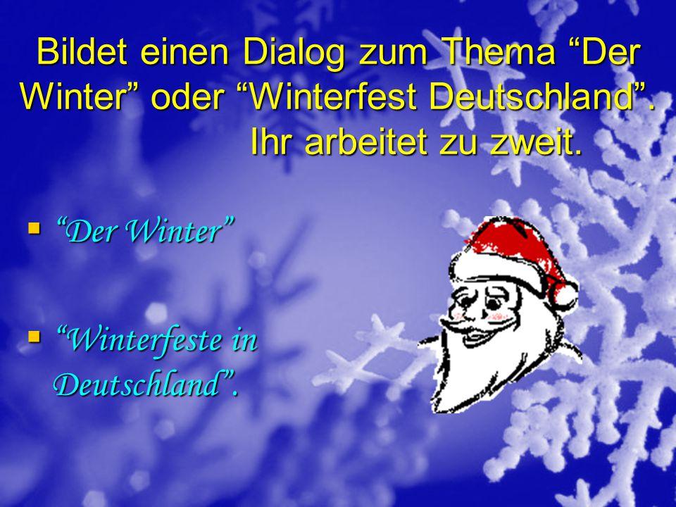 Bildet einen Dialog zum Thema Der Winter oder Winterfest Deutschland . Ihr arbeitet zu zweit.