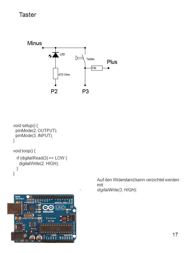 Taster 17 void setup() { pinMode(2, OUTPUT); pinMode(3, INPUT);