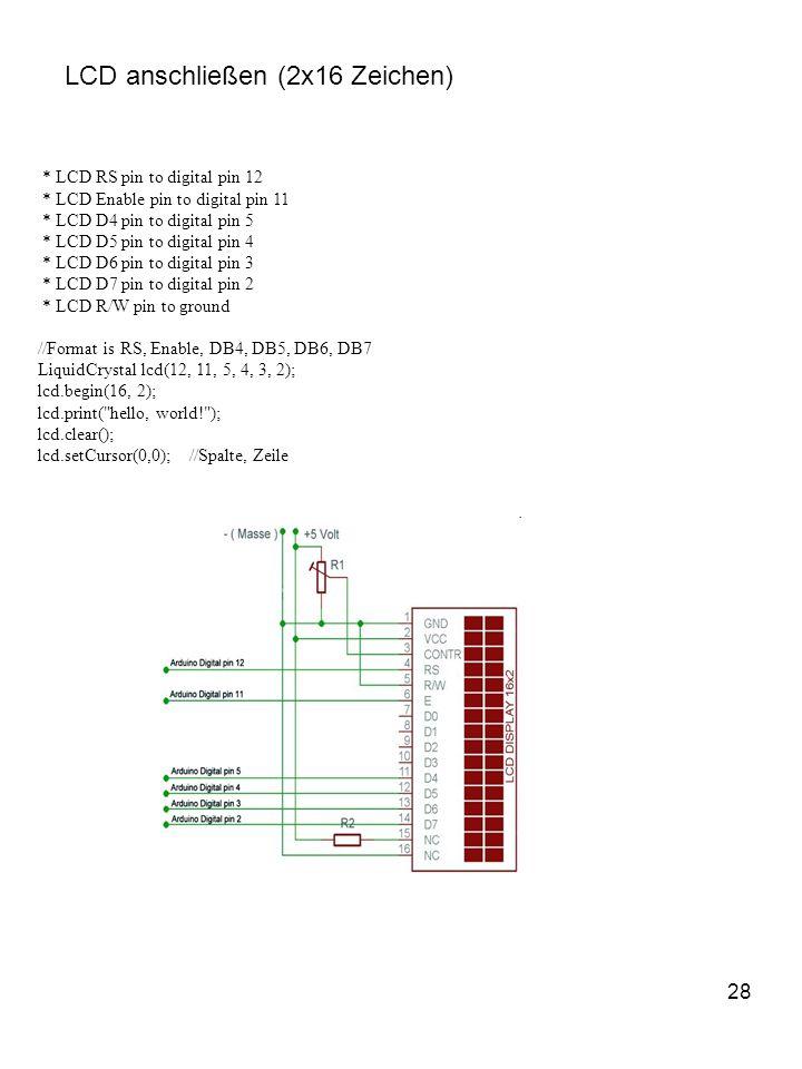 LCD anschließen (2x16 Zeichen)