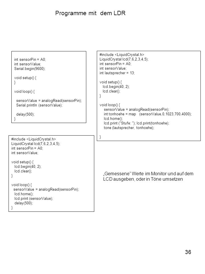 """Programme mit dem LDR 36 """"Gemessene Werte im Monitor und auf dem"""