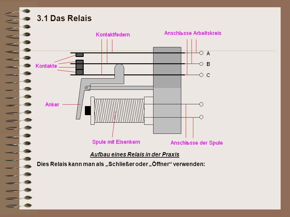 3.1 Das Relais Aufbau eines Relais in der Praxis