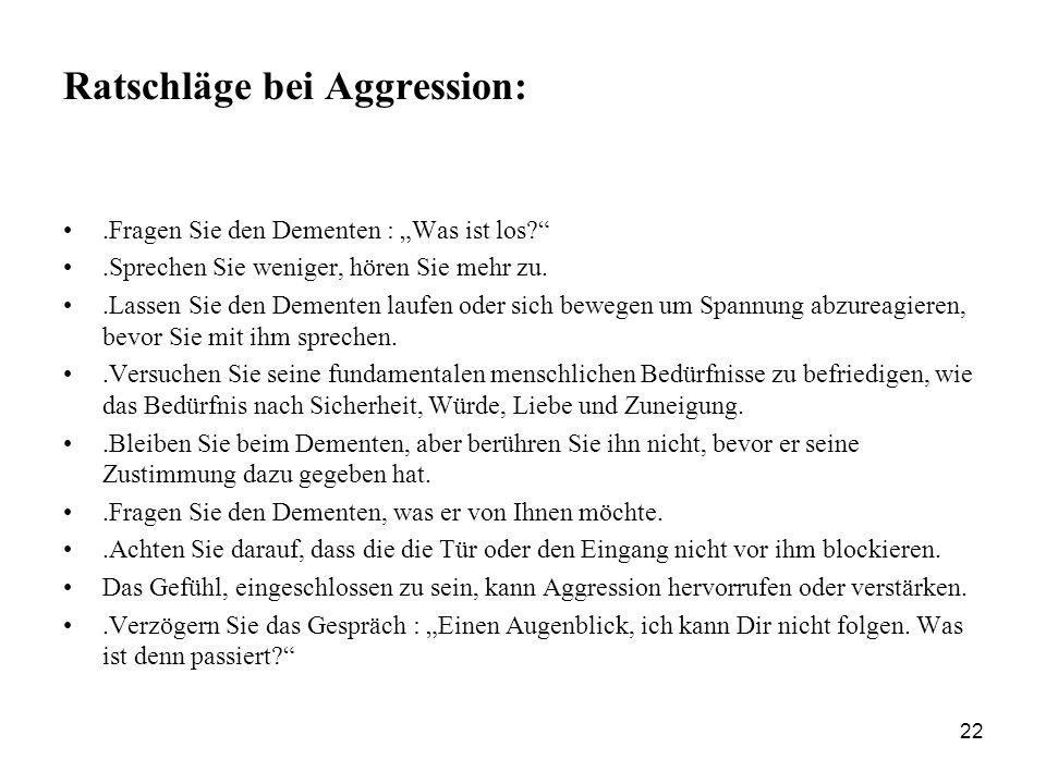 Ratschläge bei Aggression: