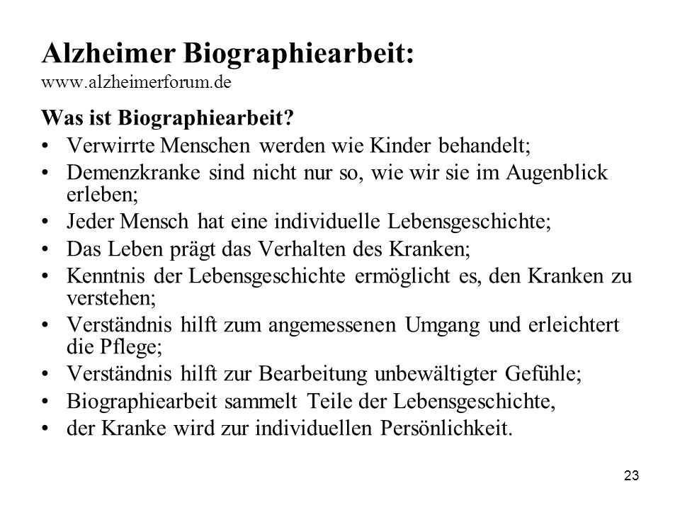 Alzheimer Biographiearbeit: