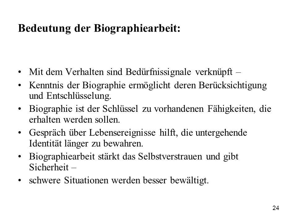 Bedeutung der Biographiearbeit: