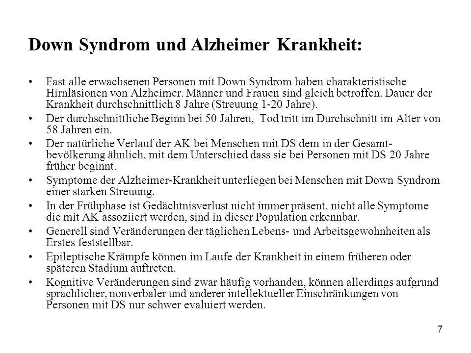 Down Syndrom und Alzheimer Krankheit: