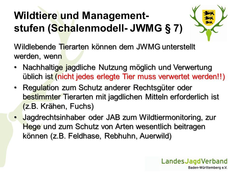 Wildtiere und Management- stufen (Schalenmodell- JWMG § 7)