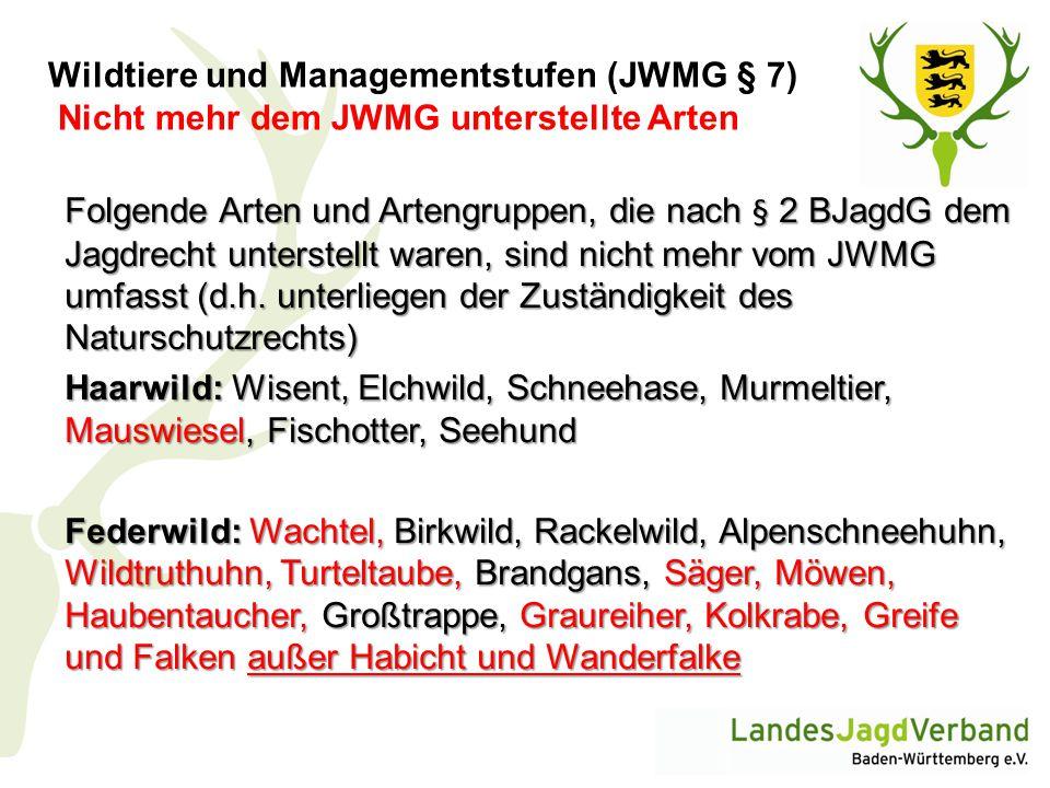 Wildtiere und Managementstufen (JWMG § 7) Nicht mehr dem JWMG unterstellte Arten