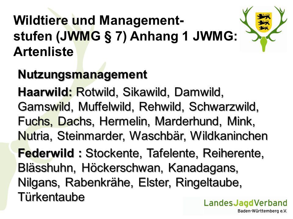 Wildtiere und Management- stufen (JWMG § 7) Anhang 1 JWMG: Artenliste