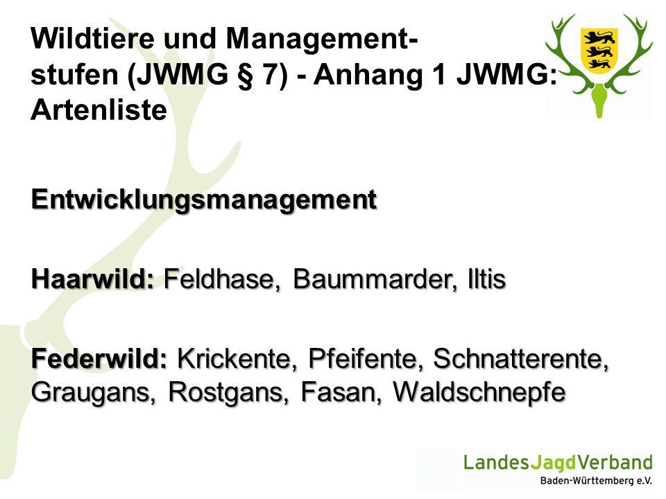 Wildtiere und Management- stufen (JWMG § 7) - Anhang 1 JWMG: Artenliste