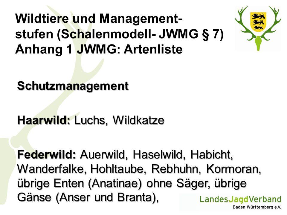 Wildtiere und Management- stufen (Schalenmodell- JWMG § 7) Anhang 1 JWMG: Artenliste