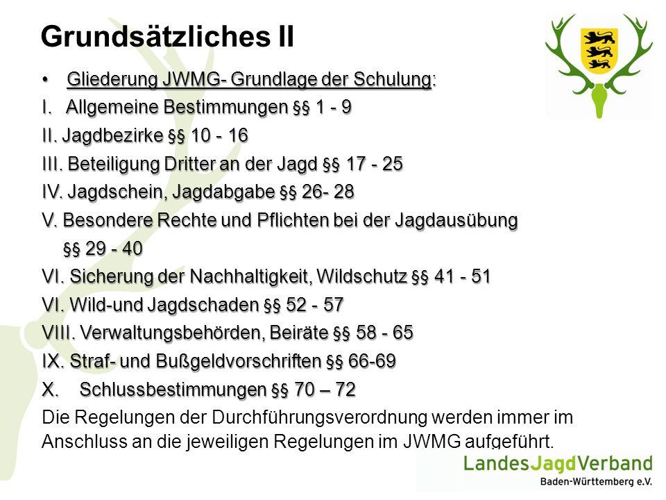 Grundsätzliches II Gliederung JWMG- Grundlage der Schulung: