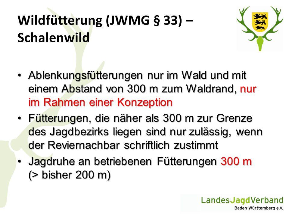 Wildfütterung (JWMG § 33) – Schalenwild