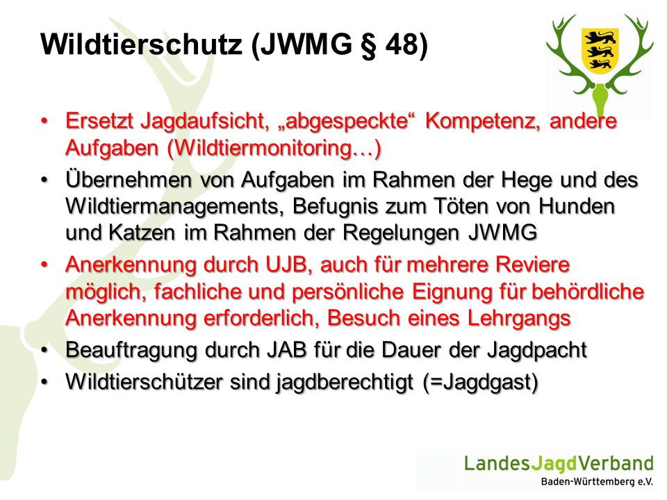 Wildtierschutz (JWMG § 48)