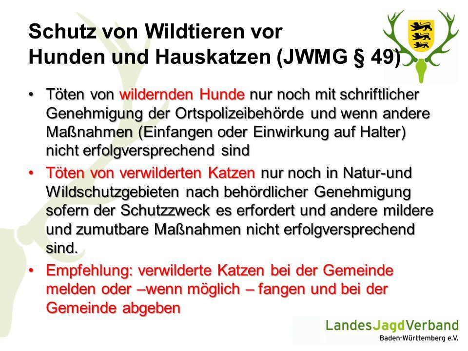 Schutz von Wildtieren vor Hunden und Hauskatzen (JWMG § 49)