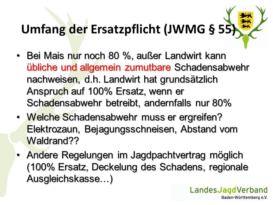 Umfang der Ersatzpflicht (JWMG § 55)
