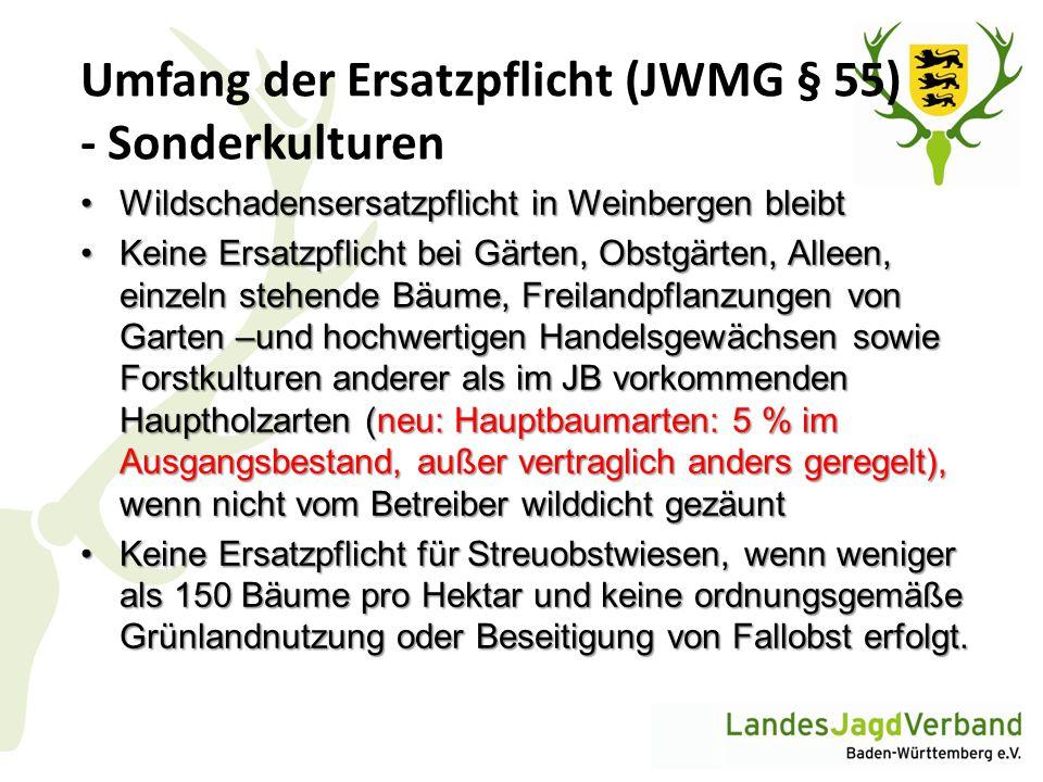 Umfang der Ersatzpflicht (JWMG § 55) - Sonderkulturen
