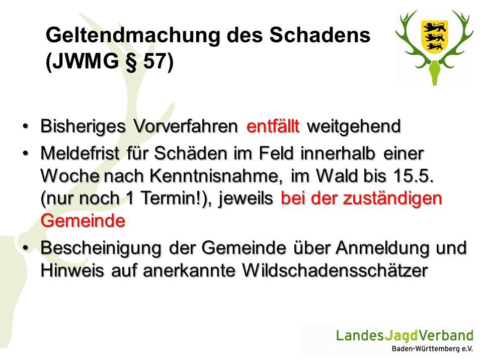 Geltendmachung des Schadens (JWMG § 57)