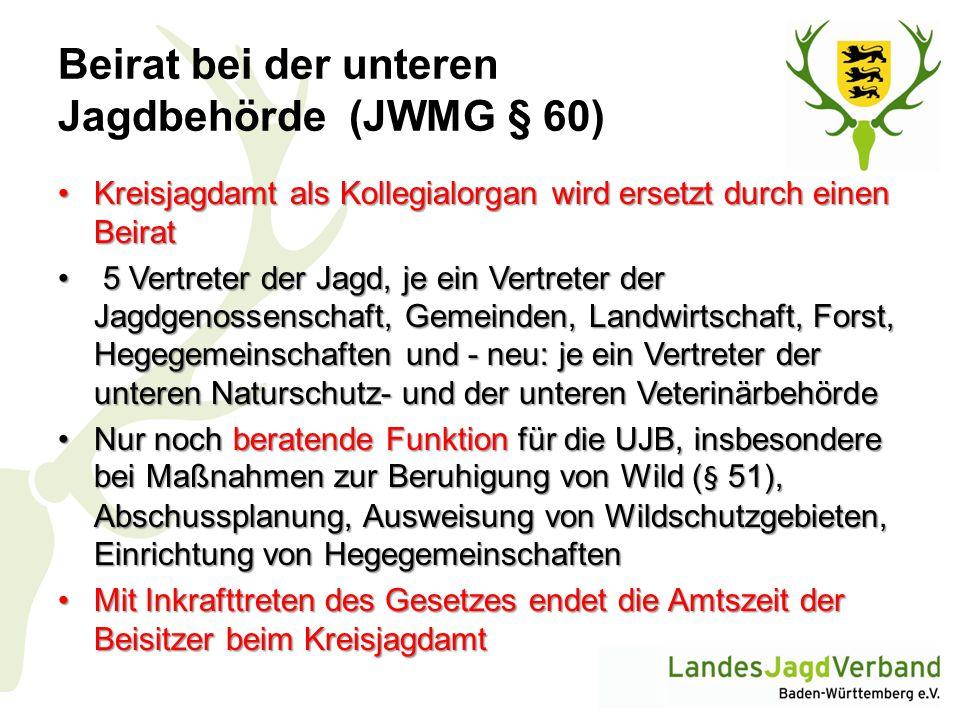 Beirat bei der unteren Jagdbehörde (JWMG § 60)