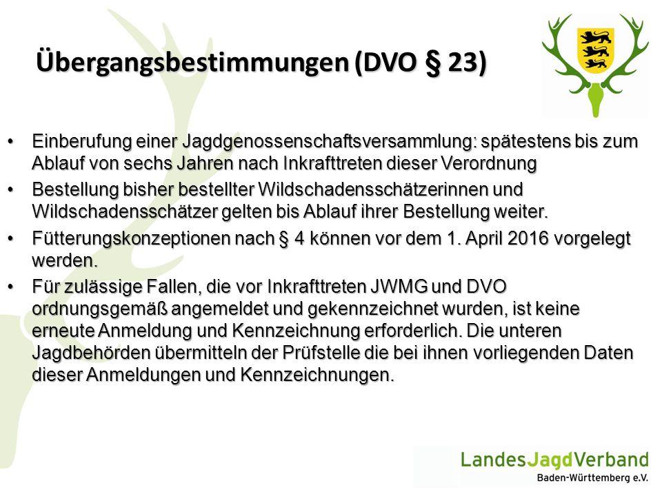 Übergangsbestimmungen (DVO § 23)