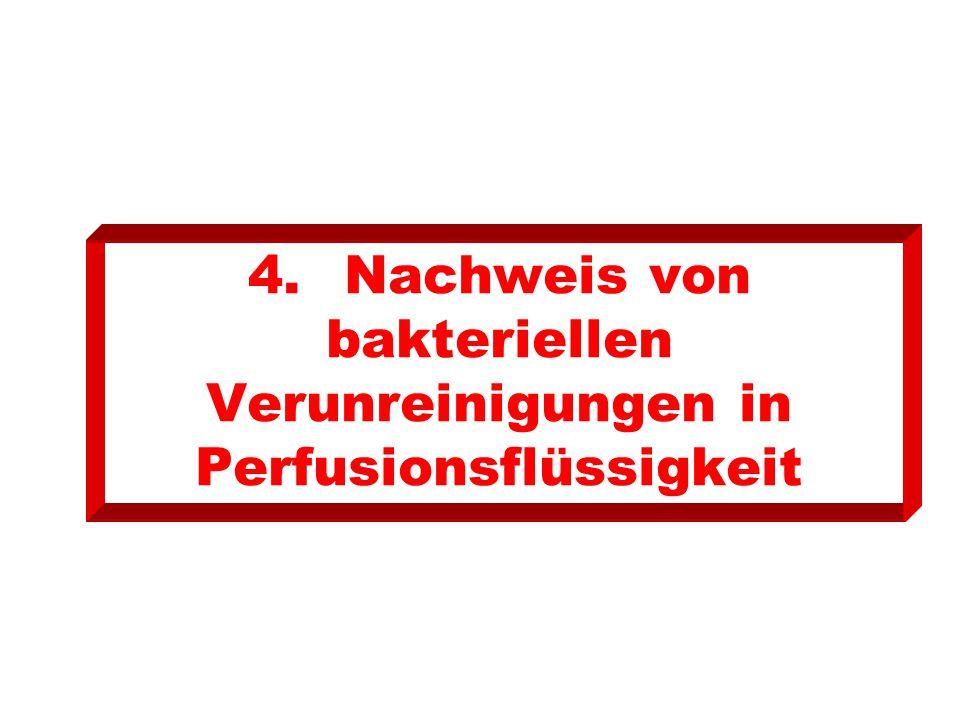 4. Nachweis von bakteriellen Verunreinigungen in Perfusionsflüssigkeit