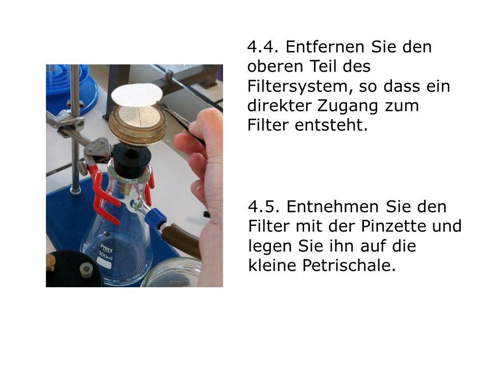 4.4. Entfernen Sie den oberen Teil des Filtersystem, so dass ein direkter Zugang zum Filter entsteht.