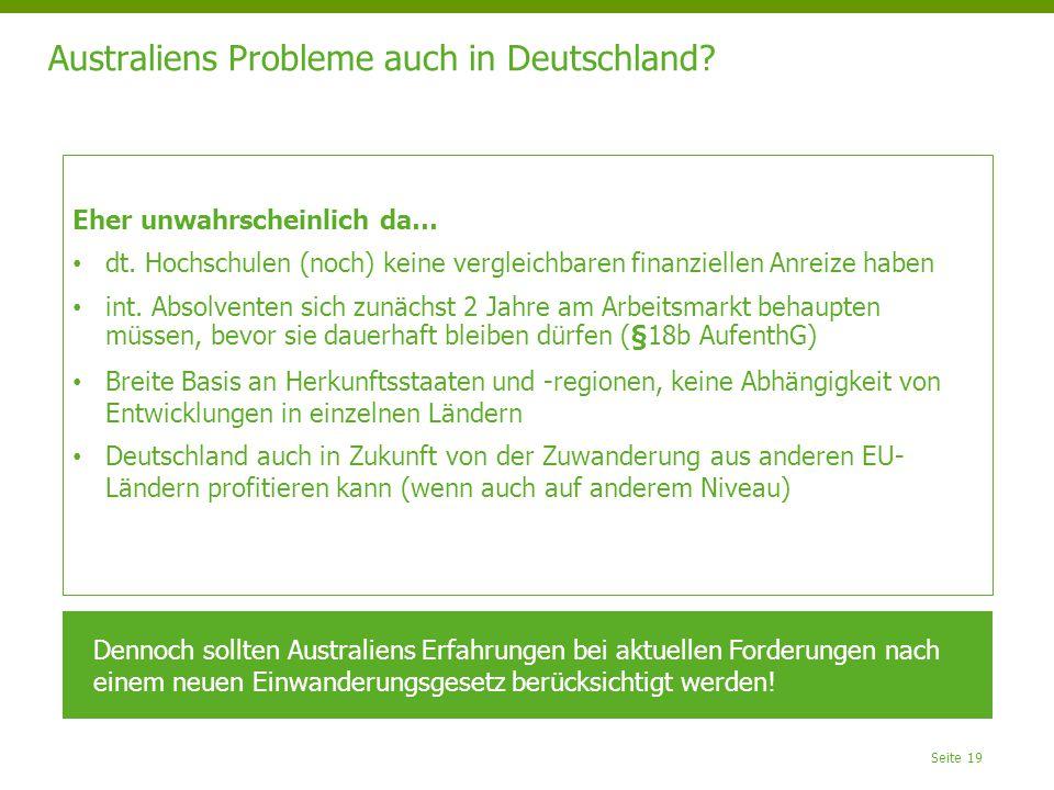 Australiens Probleme auch in Deutschland