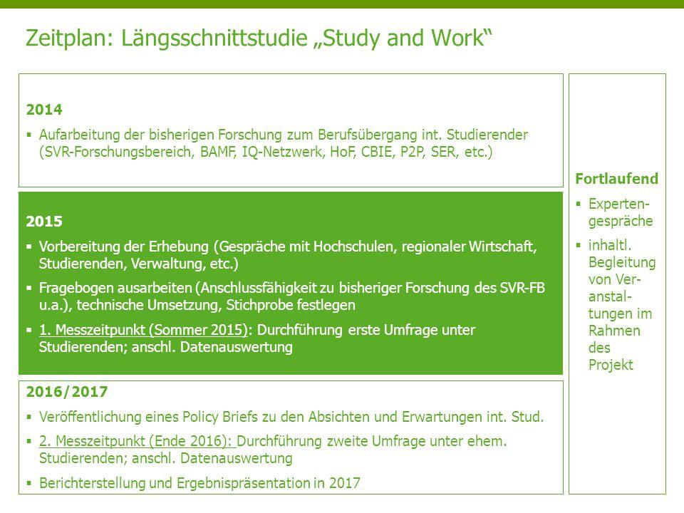 "Zeitplan: Längsschnittstudie ""Study and Work"