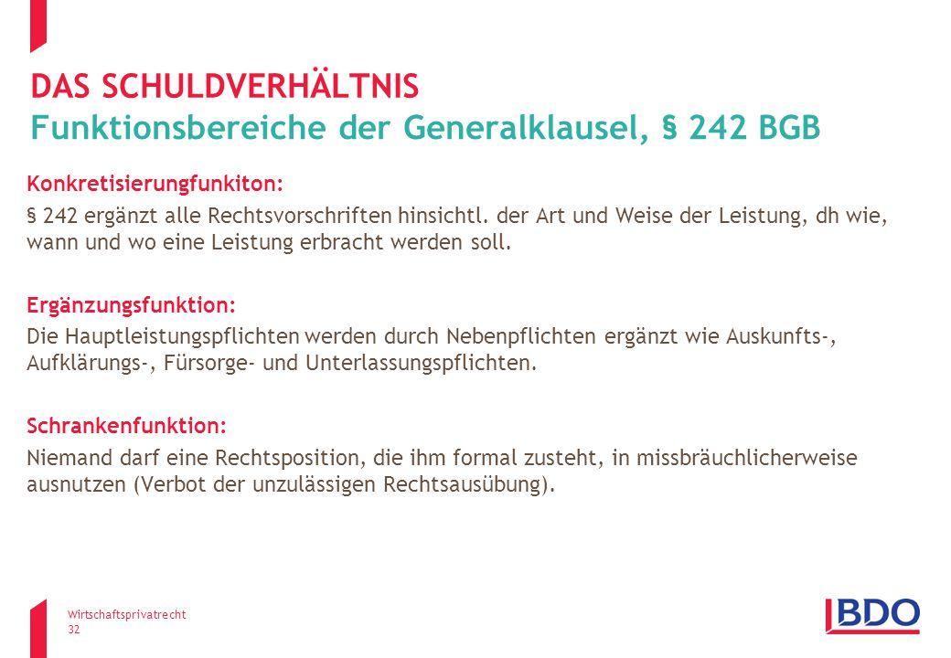 Funktionsbereiche der Generalklausel, § 242 BGB