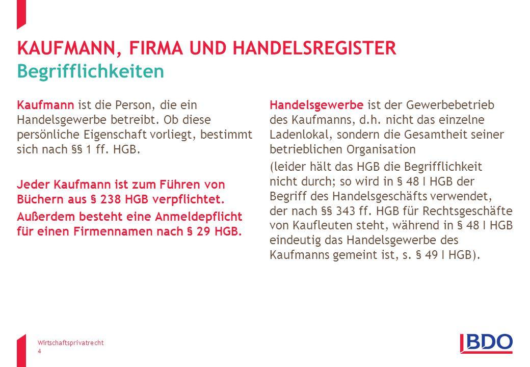 Kaufmann, firma und Handelsregister