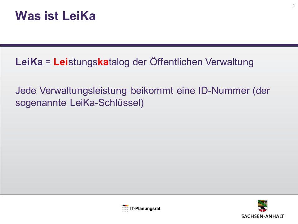Was ist LeiKa LeiKa = Leistungskatalog der Öffentlichen Verwaltung