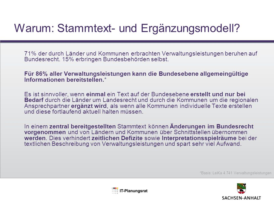 Warum: Stammtext- und Ergänzungsmodell
