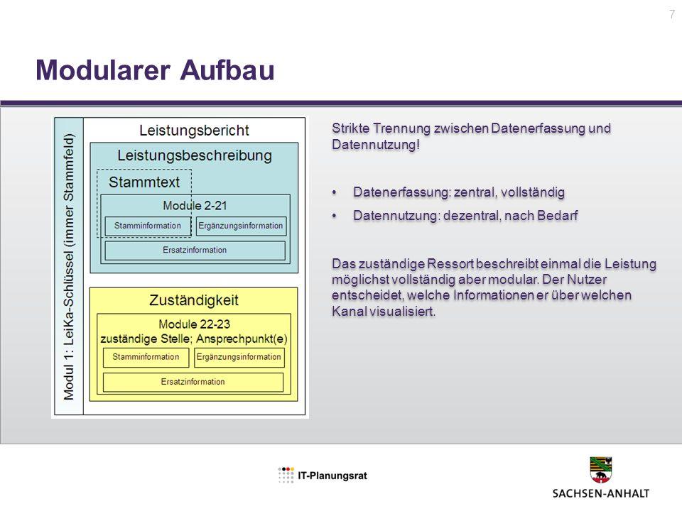 7 Modularer Aufbau. Strikte Trennung zwischen Datenerfassung und Datennutzung! Datenerfassung: zentral, vollständig.