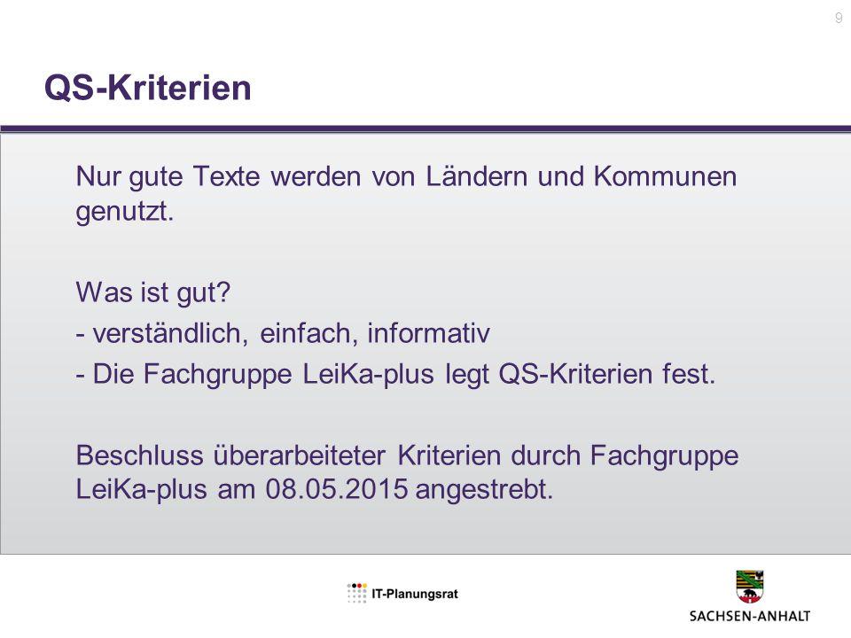 QS-Kriterien Nur gute Texte werden von Ländern und Kommunen genutzt.