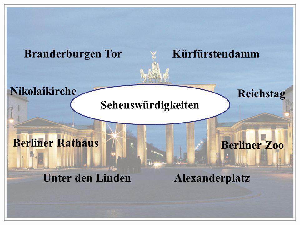 Branderburgen Tor Kürfürstendamm. Nikolaikirche. Sehenswürdigkeiten. Reichstag. Berliner Rathaus.